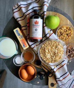maple apple oatmeal bake ingredients
