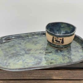StoneCreek Pottery Platter Green
